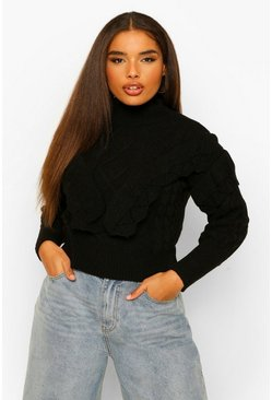Black Plus Tassel High Neck Jumper