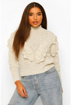 Stone beige Plus Tassel High Neck Jumper