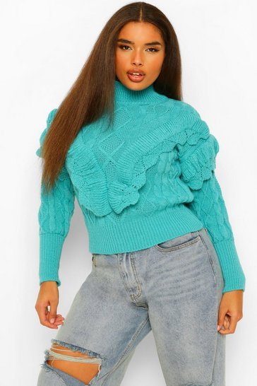 Teal green Plus Tassel High Neck Jumper
