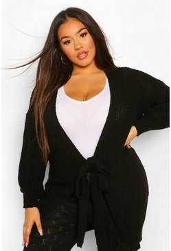 Black Plus Self Belted Midi Cardigan