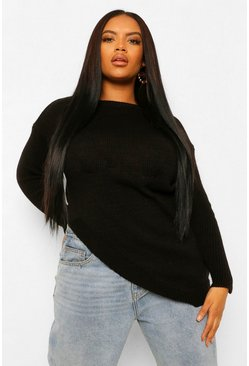 Plus Side Split Jumper, Black Чёрный