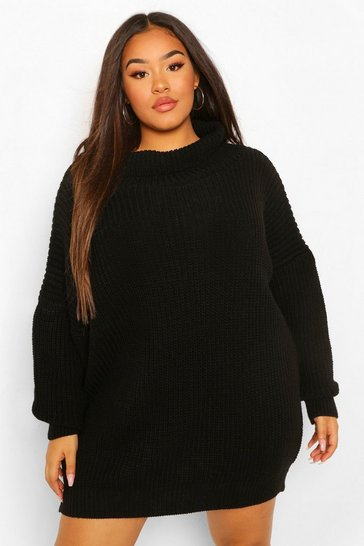 Black Plus Slash Neck Jumper Dress