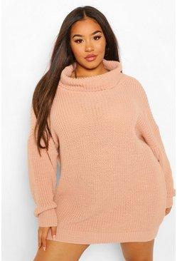 Blush Plus Slash Neck Jumper Dress