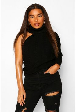Black Plus Cable Knit Cut Out Jumper