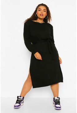 Black Plus Shoulder Pad Knitted Jumper Dress