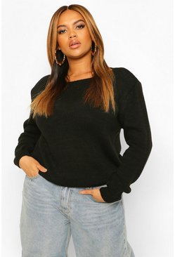 Black Plus Shoulder Pad Knitted Jumper