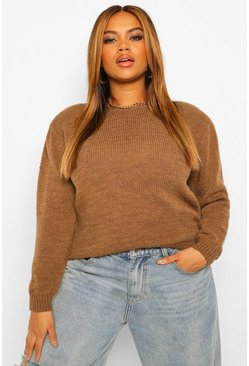 Chocolate brown Plus Shoulder Pad Knitted Jumper