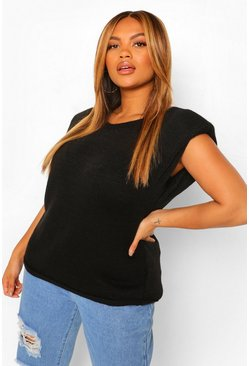 Black Plus Shoulder Pad Knitted Sleeveless Jumper