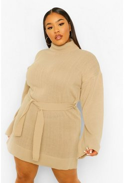 Stone beige Plus High Neck Belted Jumper Dress