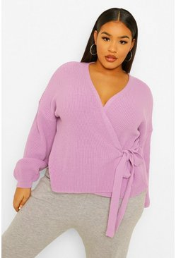 Lilac purple Plus Tie Detail Wrap Cardigan