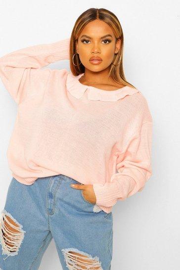 Blush pink Plus Collar Rib Jumper