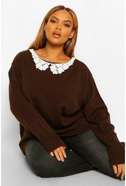 Chocolate brown Plus Lace Collar Sweater