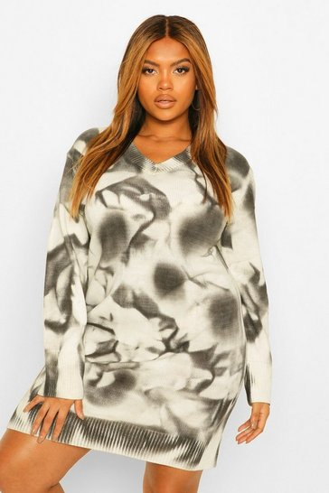 Black Plus Marble Print Knitted Jumper Dress