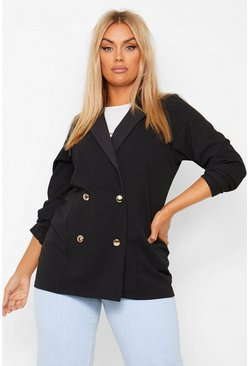 Plus Double Breasted Blazer, Black nero