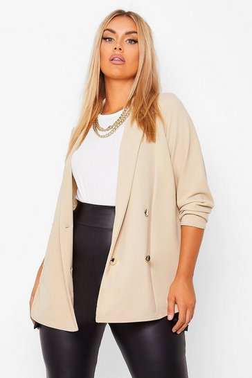 Stone beige Plus Double Breasted Blazer