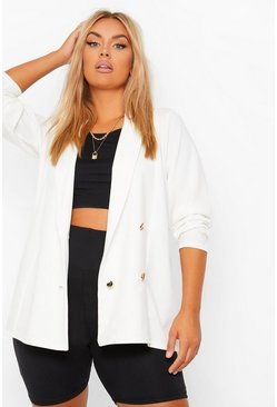 White Plus Double Breasted Blazer