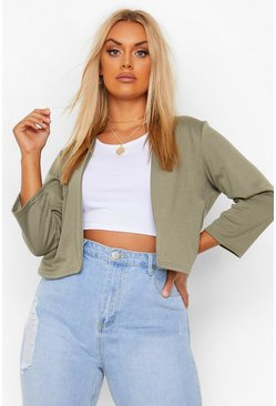 Khaki Plus Crop Ponte Edge To Edge Blazer