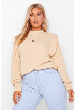 Camel beige Plus Shoulderpad Sweat