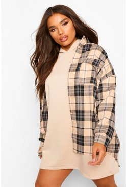 Stone beige Plus Oversized Boyfriend Check Shirt