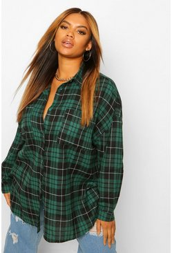 Green Plus Oversized Boyfriend Check Shirt