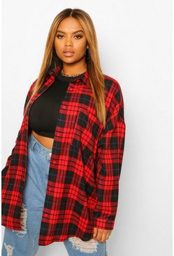 Red Plus Oversized Boyfriend Check Shirt