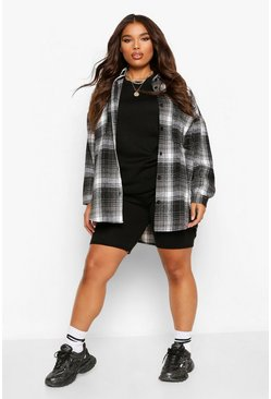 Plus Oversized Boyfriend Check Shirt, Black schwarz