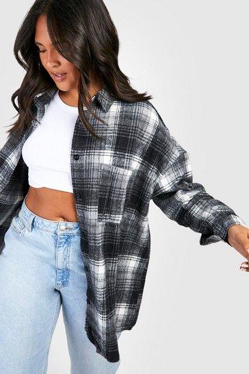 Black Plus Oversized Boyfriend Check Shirt