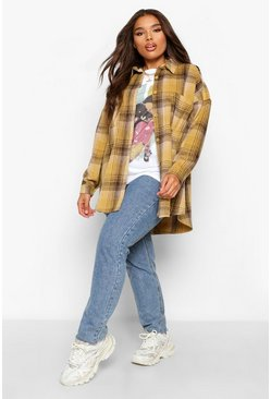 Plus Oversized Boyfriend Check Shirt, Mustard gelb