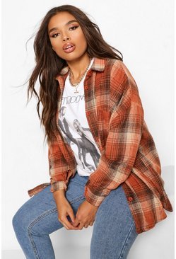Plus Oversized Boyfriend Check Shirt, Rust orange
