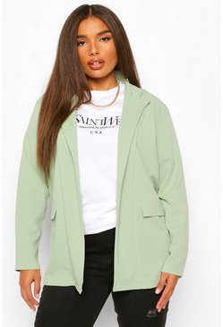 Sage green Plus Oversized Double Breasted Blazer