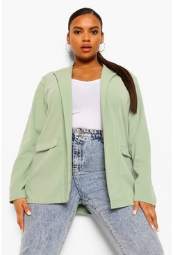 Sage green Plus Oversized Boyfriend Blazer