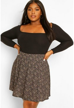 Black Plus Ditsy Floral Print Skater Skirt