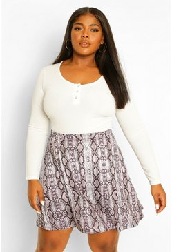 Grey Plus Snake Print Skater Skirt