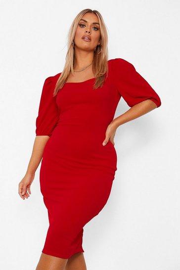 Red Plus Puff Sleeve Midi Dress