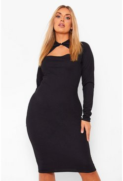 Black Plus Cut Out Collar Midi Dress