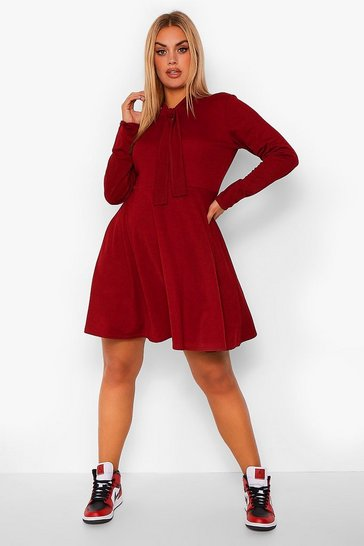Berry red Plus Pussy Bow Skater Dress