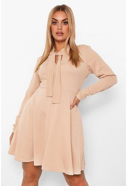 Stone beige Plus Pussy Bow Skater Dress