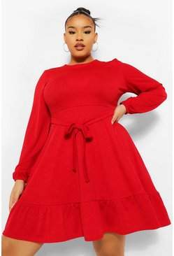 Red Plus Ruffle Belted Skater Dress