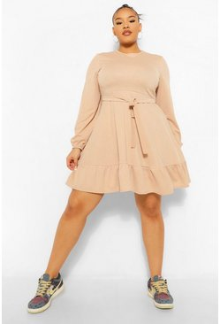 Stone beige Plus Ruffle Belted Skater Dress