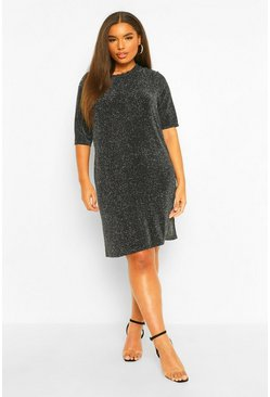 Black Plus Glitter Cross Back T-Shirt Dress