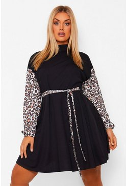 Black Plus Leopard Colour Block Skater Dress