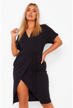 Black Plus Wrap Belted Midi Dress