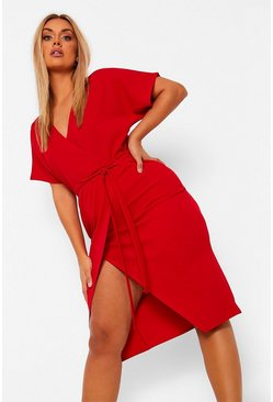 Red Plus Wrap Belted Midi Dress