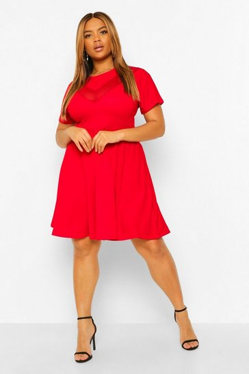 Red Plus Mesh Contrast Skater Dress