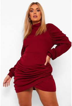 Berry red Plus High Neck Ruched Wrap Dress