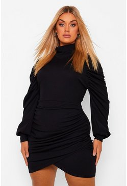 Black Plus High Neck Ruched Wrap Dress