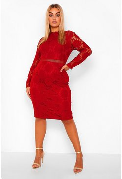 Berry red Plus Lace Midi Dress