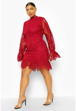 Berry red Plus Lace High Neck Ruffle Mini Dress