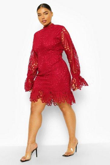 Berry red Plus Lace High Neck Ruffle Mini Dress