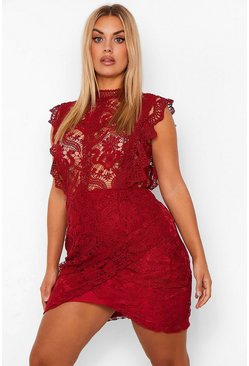 Berry red Plus Lace High Neck Ruffle Wrap Dress